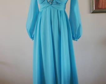 Blue 1970's Empire Waist Chiffon Formal/Prom Maxi Dress/Bridesmaid Dress Bead & Jewel Applique by Melody Dress Toronto Size S/M BT-607