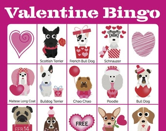 Valentine Bingo Cards — 12 Unique Bingo Cards with EXTRA LARGE Calling Cards for little hands  — Instant Digital Download
