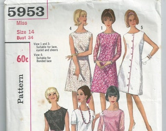 A-line Dress With Round Neck - Simplicity Pattern 5953 - 1965