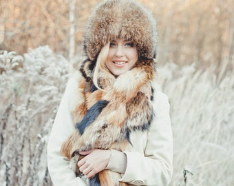 Real raccoon fur scarf Mix