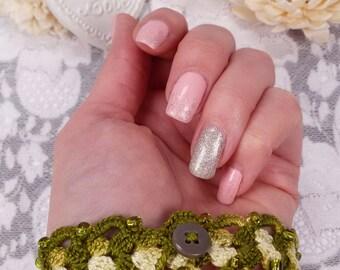 Olive crochet bracelet, textile jewelry, olive beaded bracelet, fiber art bracelet, fabric jewelry, lace bracelet, olive beaded bracelet