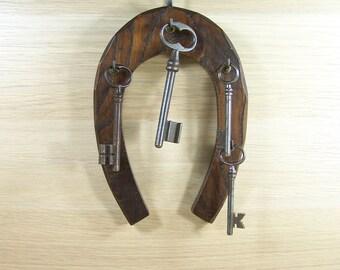 Wooden key holder horseshoe-shaped key hanger wooden key rack vintage Made in France