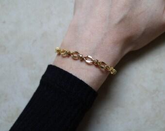 Gypsy Link 24k Bracelet ~ Gold Bracelet - Gold Chain Bracelet ~ Thin Bracelet ~ Link Bracelet