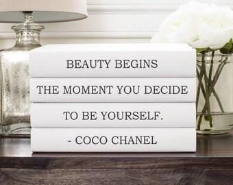 Coco Chanel Decor, Chanel Quote Decorative Books, Chanel Book, Friend Gift, Book Lover Gift, Housewarming Gift, Bookshelf Decor, Book Decor