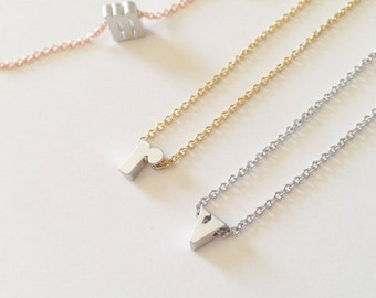 Dainty Lowercase Silver Initial Necklace w Gold, Silver, Rose Gold Chain, Dainty Initial Charm Necklace, Holiday Gift, Bridesmaid Gift - BIN