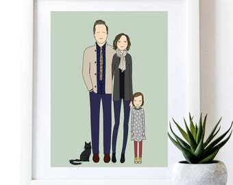 Custom Family Portrait | personalized fathers day, illustration, wall art, personalized drawing, anniversary gift with free print
