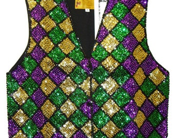 Mardi Gras Square Sequin Vest #68