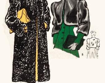 1940s 40s Vintage Sewing Pattern box coat fur bolero jacket bust 34 Instant Download