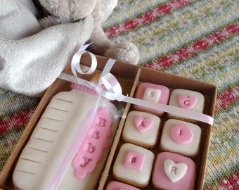 Hand baked baby girl biscuits - baby showers/Christenings/births etc