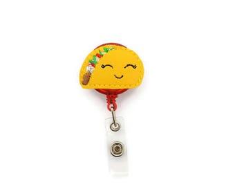 Taco badge reel - Taco Nurse badge reel - Retractable badge reel -  ID holder - Felt badge reel - Nurse gift - Work Badge