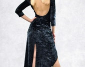 Sexy long tango dress velvet dark blue and other colors with slits