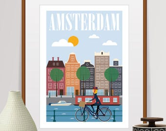 amsterdam, amsterdam print, travel poster, mid century wall art, amsterdam poster, netherlands, amsterdam art, retro wall art, city prints