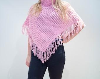 Vintage 90's Pastel Pink Roll Neck Fringed Poncho