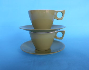 Ornamin Melmac Tea Cups and Saucers Set of Two 1970's   #10239