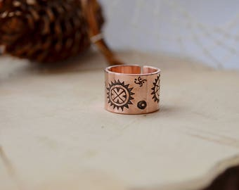 Sun Copper ring, Scandinavian style band, Primitive Rock Painting, petroglyph cave symbol, Viking ring, Mother's day gift, Sun of Maya