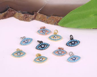 20Pcs Jewelry Accessories Micro Pave Blue Turquoise Evil Eye Pendant Beads For Bracelet Making