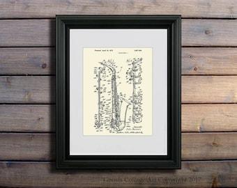 Alto Saxophone art print #3 ,1972 Vito Pascucci saxophone patent art, musical instrument decor, Sax gift, musician gift, Jazz gift idea