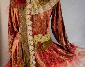 "Exuberant Vest in velvet rust ""Gisèle"", Art to wear, Unique, Feminine"