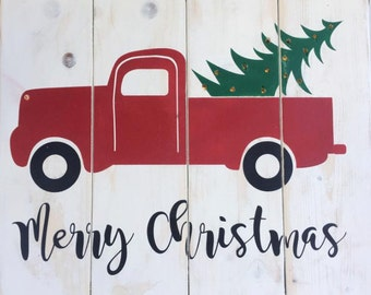 Light up Red Truck Christmas Tree sign