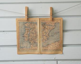 1920's Vintage Spain & Portugal Map