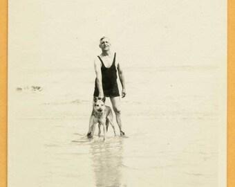 Original Vintage Snapshot Found Photo Vernacular Swimsuit Bathing Suit 30s Man in Water at Beach with German Shepard Dog 1930s Fashion -C38