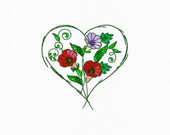 Embroidery pattern of a heart with flowers for machine embroidery in 3 sizes of format