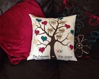 Personalised Family Tree Cushion, Family Tree Pillow, Personalised Cushion, Personalised Pillow, Mothers Day, Birthday, Present