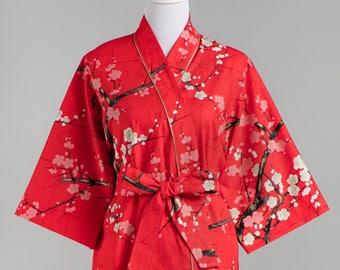 Plus Size Maternity Kimono Robe. Long Plus size Maternity Robe. Short + Long. Hospital Robe. Post Delivery Nursing.Floral Asian GG Red