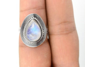 Moonstone Ring Sz 7 Sterling Moonstone Ring Sterling Silver Gypsy Rings Sterling Warrior Ring Statement Boho Rings