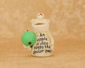 Doctor ceramic figurine Sculpture clay Ceramics and pottery Medicine cabinet Health care Doctor graduation Recovery gifts Nurse gift