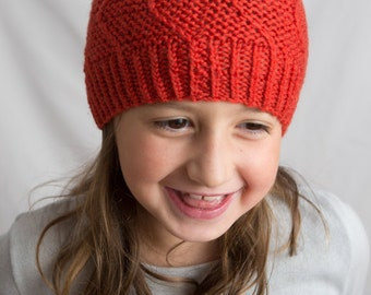 Children's Red wool Beanie with a Dot on Top