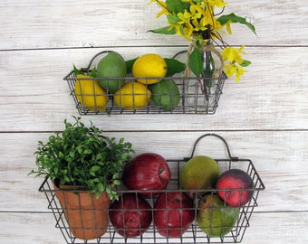 Wire Baskets - Rectangle Long Wire Basket Set, Vegetable Hanging Wire Baskets, Farm Basket, Farmhouse Kitchen