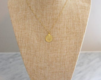 Delicate Gold Necklace with Coin Pendant