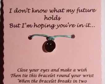 Girlfriend gift, Girlfriend Wish Bracelet, Charm bracelet, Gift for Girlfriend, Cord Bracelet, Gift for her, Girlfriend Valentine gift