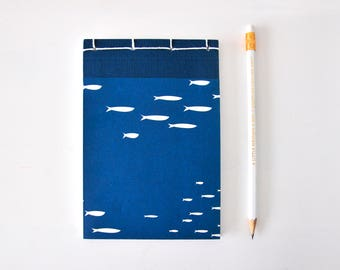 Small Japanese Notebook, hand bound, fish, white, petrol, sea, ocean, stab binding - Journal, Diary, Sketchbook, Travel Book