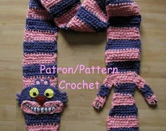 Crochet PATTERN Cheshire Cat scarf , Alice in wonderland inspired Disney version, crochet pattern cat scarf striped purple and pink