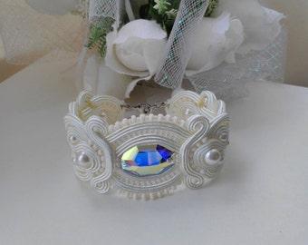 Wedding Bracelet Bridal Bracelet Pearl Bracelet Crystal Bracelet For Bride Soutache Bracelet Ivory Bracelet Cream Swarovski Bracelet Cuff
