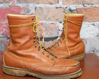 Vintage Hunting Honey Brown Leather Sporting Logger Motorcycle Boots With Crepe Soles Men's Size 12D--Made in the Czechoslovakia