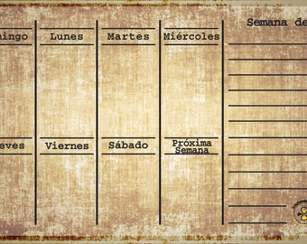 Spanish Bronze weekly planner, dry erase calendar, Spanish weekly calendar, Spanish daily planner, Spanish magnetic refrigerator calendar