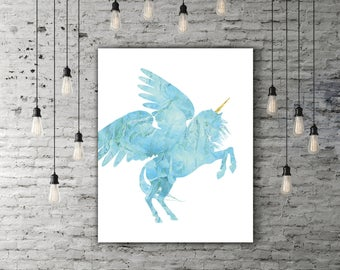 Magical Unicorn Art Print, Aquamarine Unicorn Design, Fantasy Decor, Blue Gold Magic Poster Printable, Fantasy Wall Art, Housewarming Gift