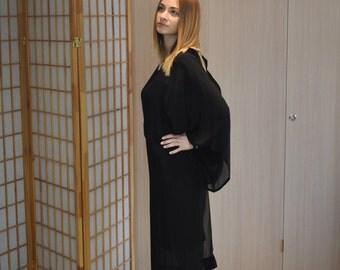 Asymmetric Maxi Kaftan Dress / Loose Oversize Tunic Dress / Summer Chiffon Dress