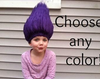 Troll hair, Troll wig, Troll costume wig, Troll Halloween costume, Troll birthday party outfit, Costume wig, Costume hair, Kids wig