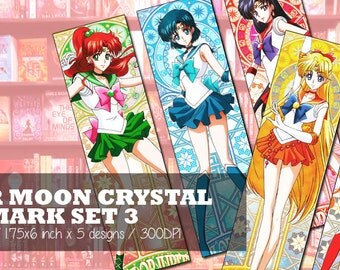 instant download sailor moon crystal inspired digital bookmark sheet diy printable sheet