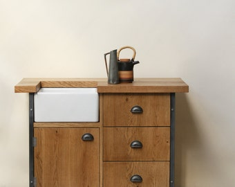 KONK! INDUSTRIAL Belfast Sink Unit - Solid Oak, Drawers, Kitchen Bespoke