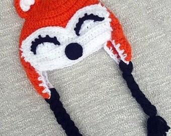 Crochet Fox Hat, Fox Earflap Hat, Crochet Ear Flap Hat, Adult Fox Hat, Crochet Adult Hat, Fox Hat, Ear Flap Fox Hat, Crochet Adult Hat