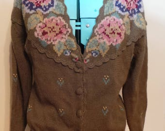 Super Cute Vintage Herman Geist Hand Embroidered Wool Floral Slouchy Sweater Cardigan Size M