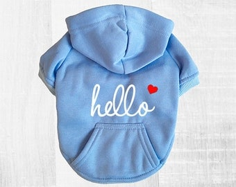 Hello Dog Hoodie. Baby Blue Sweatshirt w/ White Text & Heart Icon. Casual Dog Apparel. Modern Clothes for Small Dogs. Cute Dog Lover Gift.
