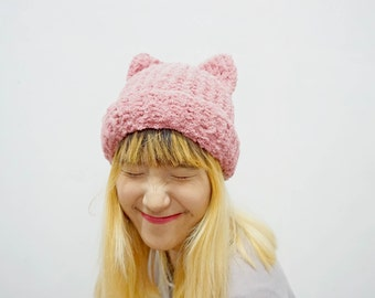 Fluffy kitty knitted hat, cat ear hat, pussyhat
