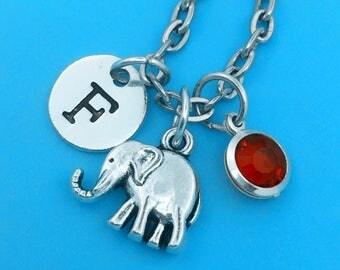 Lovely elephant necklace, personalized necklace, lovely elephant charm necklace, initial necklaces, lovely elephant pendant, lovely elephant