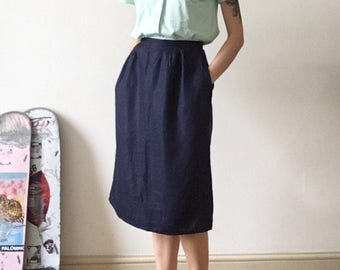 Navy Skirt / Pockets / Casual / Tea Party / Made in USA / Comfy